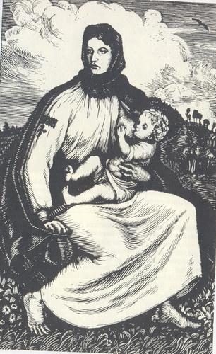 естамп «Карпатська мати». 1923. В. Касіян.