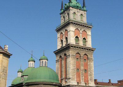 Ансамбль Успенської церкви у Львові: церква Успіння. 1591-1629; вежа Святителів. 1578.