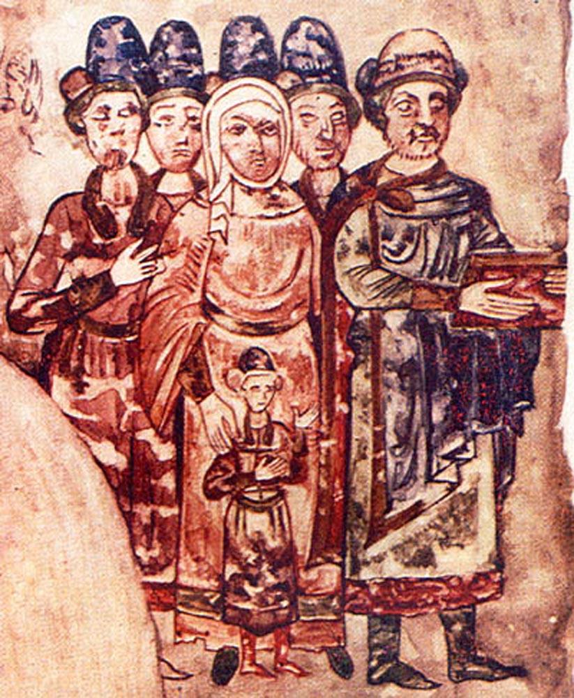 Родина князя Святослава Ярославича. Мініатюра з «Ізборника». 1073.