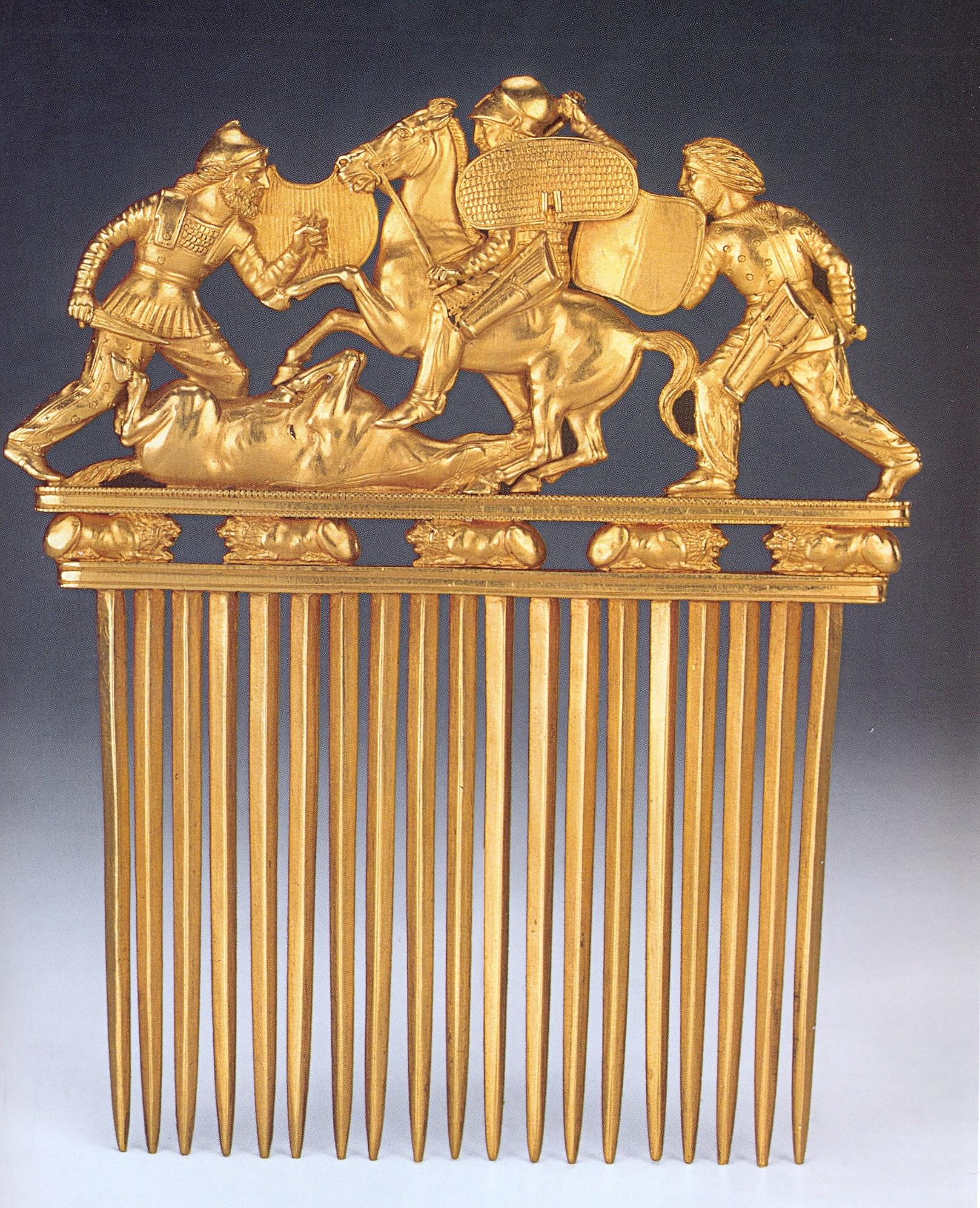 Золотий гребінь з кургану Солоха. Кінець V - початок IV ст. до н. е.