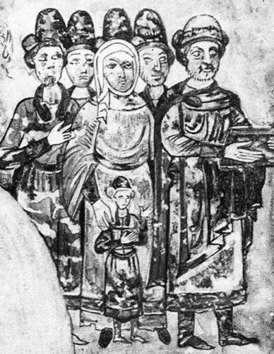 16. Родина князя Святослава Ярославича. Мініатюра з «Ізборника». 1073