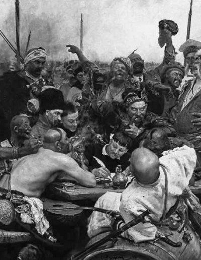 77. Картина «Запорожці пишуть листа турецькому султанові». 1880-1891. І. Рєпін