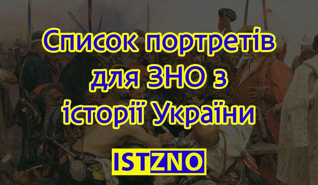 Список персоналій для візуального розпізнавання на ЗНО з історії України 2019